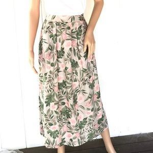 Vintage 90's Pink Floral Midi Skirt